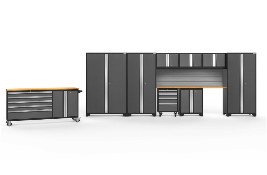 NewAge Bold Series 10-PC Cabinet Set - Gray / Bamboo