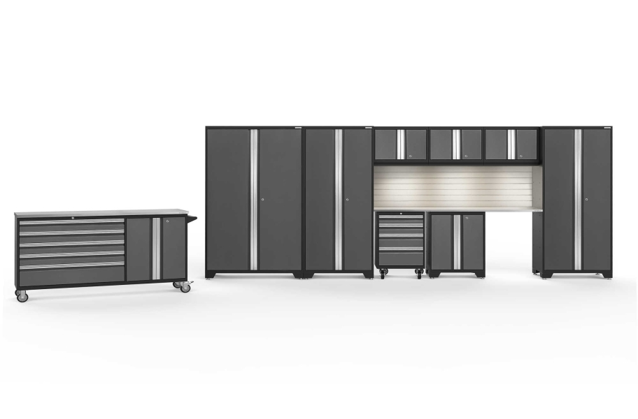 NewAge Bold Series 10-PC Cabinet Set - Gray / Steel + LED Light