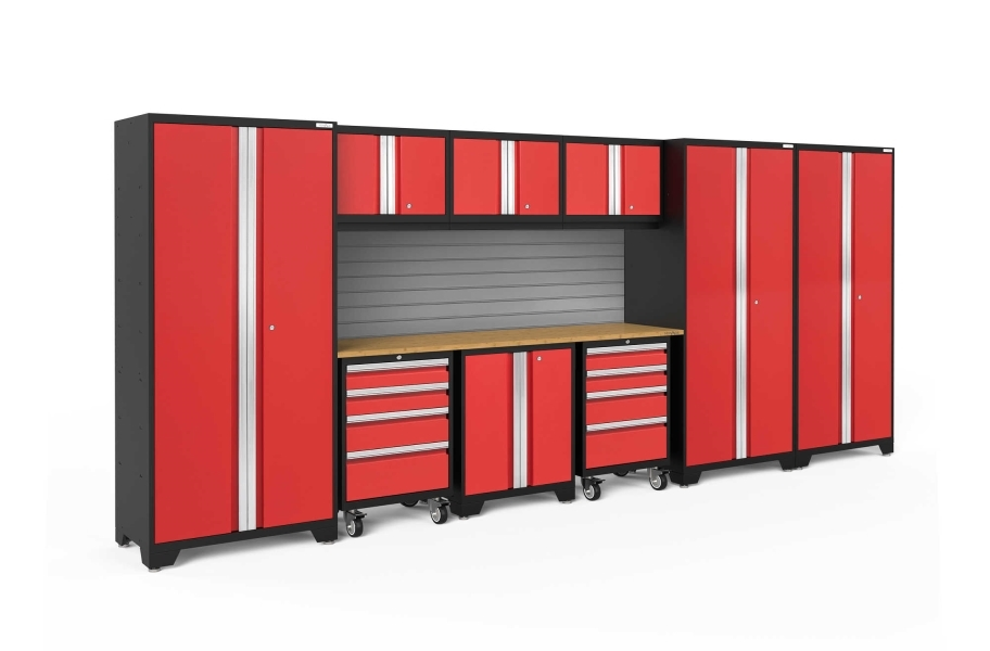 NewAge Bold Series 10-PC Cabinet Set - Red / Bamboo