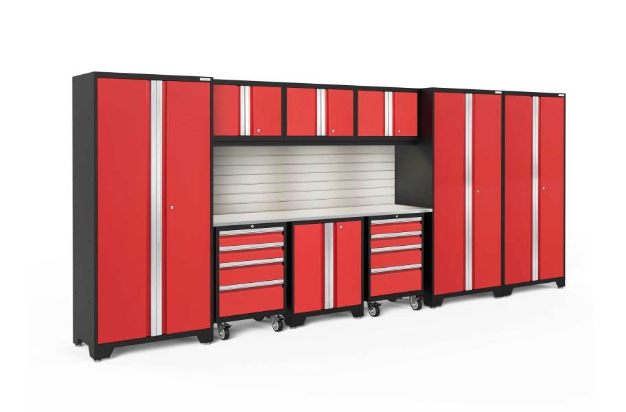 NewAge Bold Series 10-PC Cabinet Set - Red / Steel + LED Light