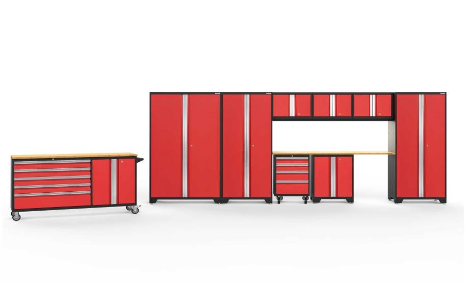 NewAge Bold Series 10-PC Cabinet Set - Red / Bamboo + LED Light