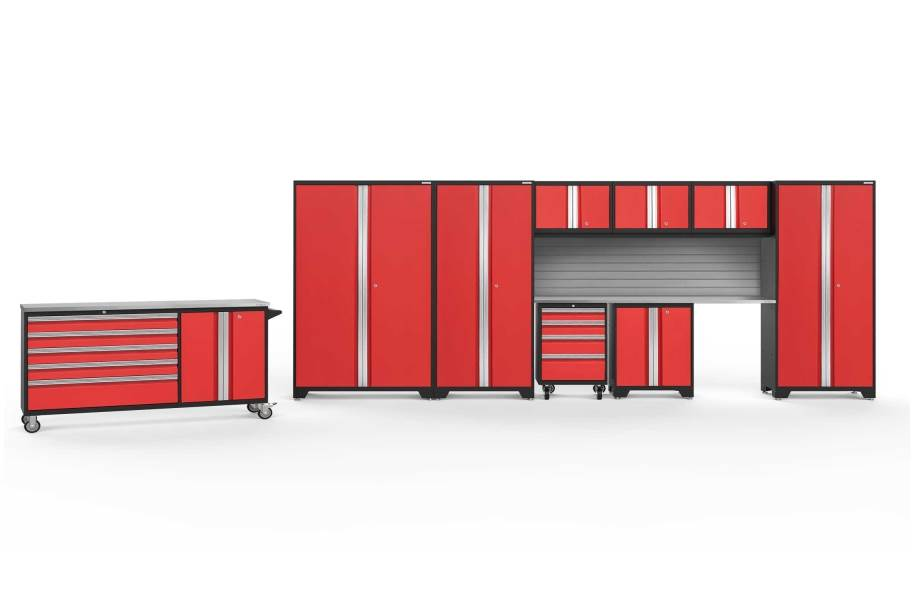 NewAge Bold Series 10-PC Cabinet Set - Red / Steel