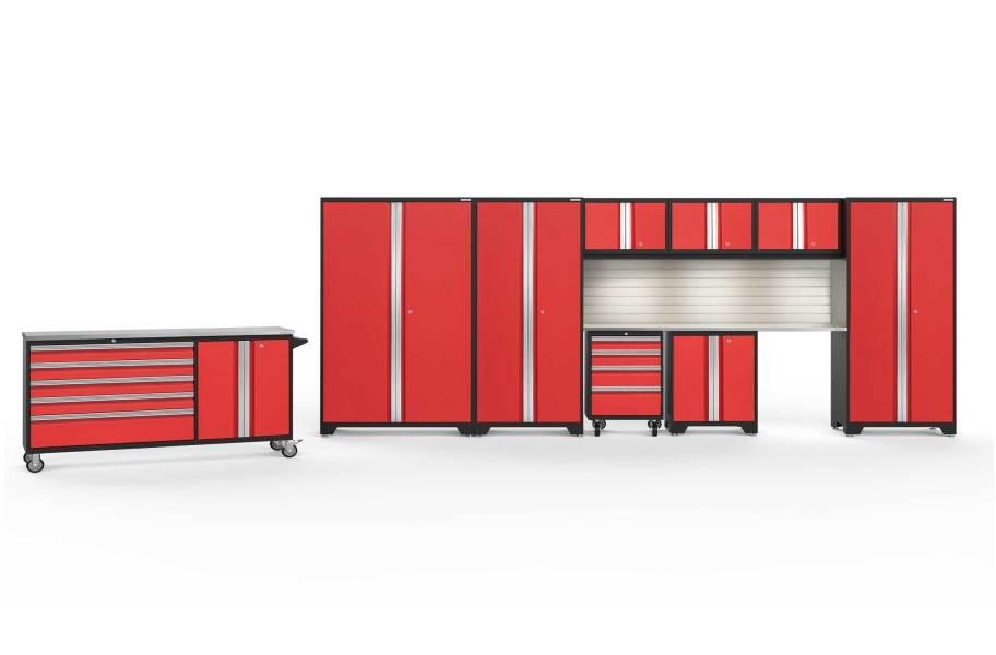 NewAge Bold Series 10-PC Cabinet Set - Red / Steel + LED Light