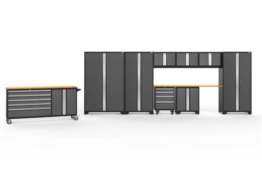 NewAge Bold Series 10-PC Cabinet Set - Gray w/ Bamboo