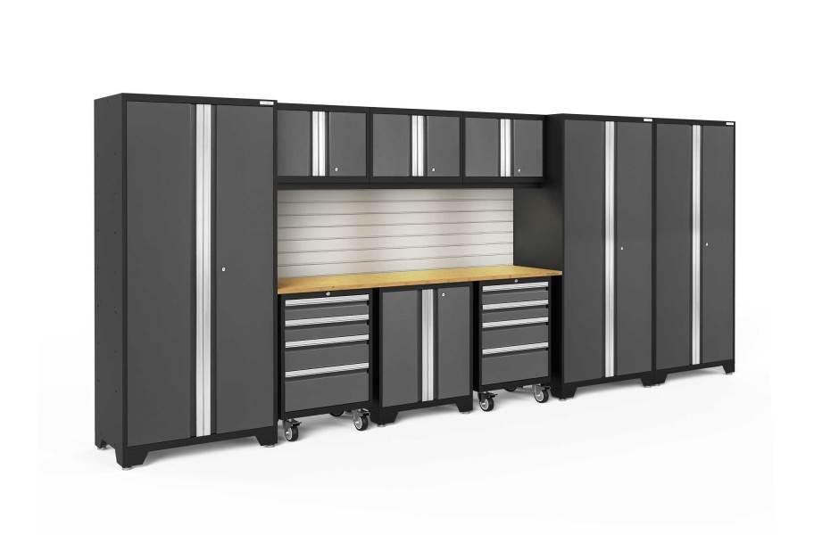 NewAge Bold Series 10-PC Cabinet Set - Gray / Bamboo + LED Light