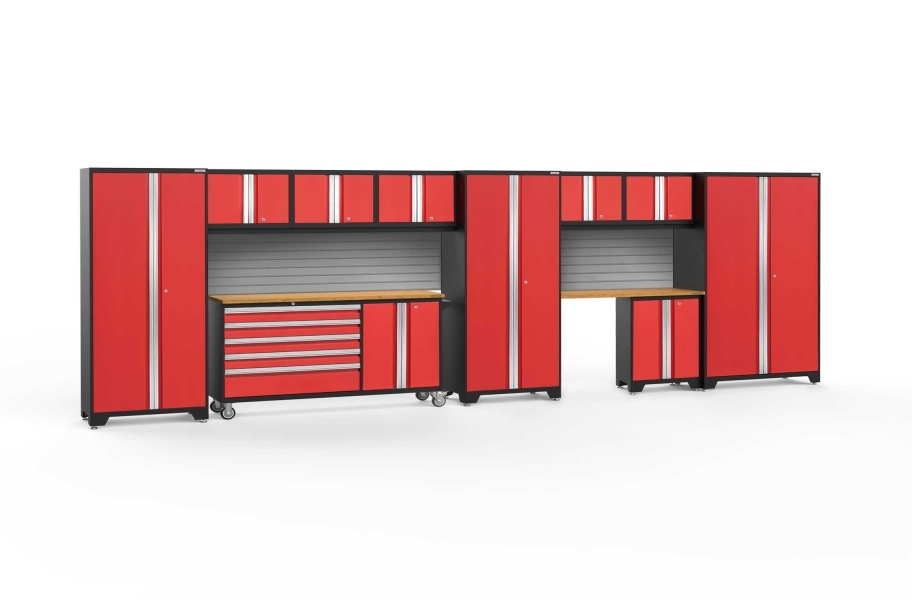 NewAge Bold Series 11-PC Cabinet Set - Red / Bamboo