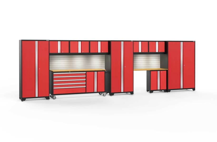 NewAge Bold Series 11-PC Cabinet Set - Red / Bamboo + LED Lights