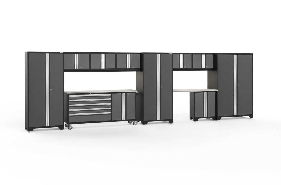 NewAge Bold Series 11-PC Cabinet Set - Gray / Steel + LED Lights