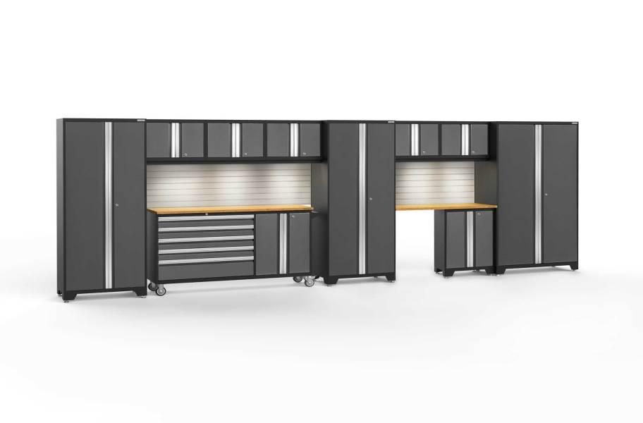 NewAge Bold Series 11-PC Cabinet Set - Gray / Bamboo + LED Lights