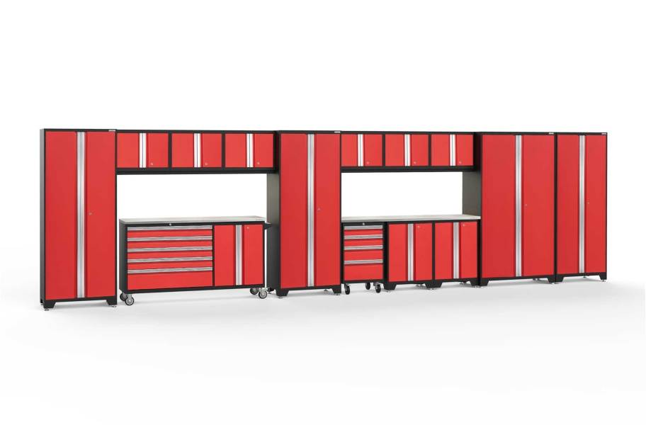 NewAge Bold Series 15-PC Cabinet Set - Red / Steel + LED Lights