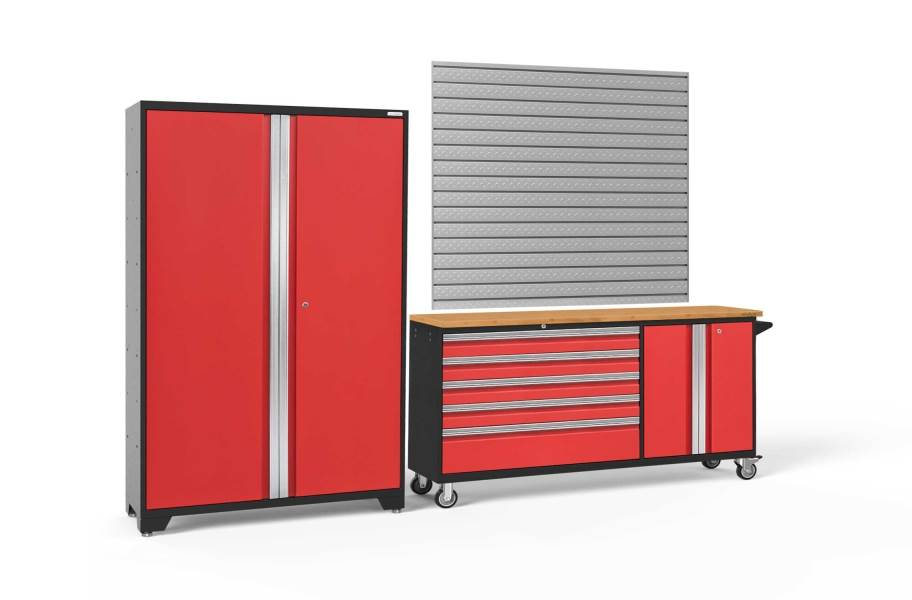 NewAge Bold Series 2-PC Cabinet Set - Red / Bamboo