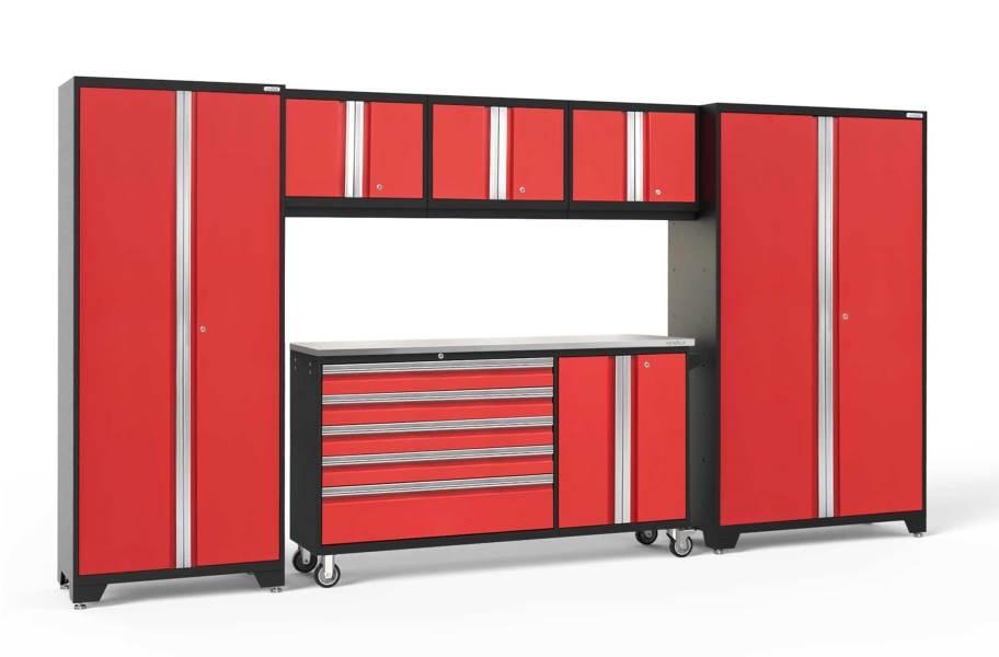 NewAge Bold Series 6-PC Cabinet Set - Red / Steel + LED Lights