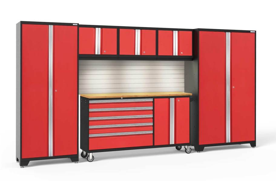 NewAge Bold Series 6-PC Cabinet Set - Red / Bamboo + LED Lights