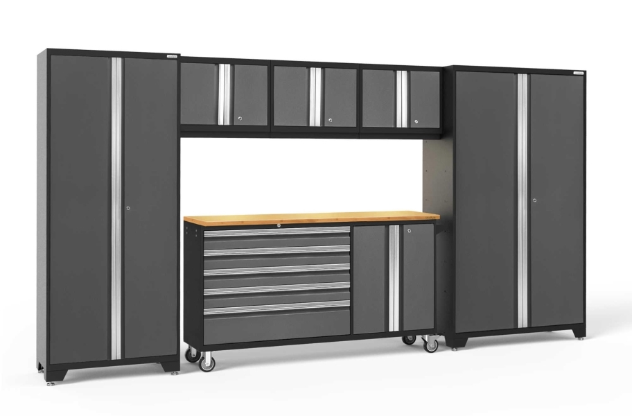 NewAge Bold Series 6-PC Cabinet Set - Gray / Bamboo + LED Lights