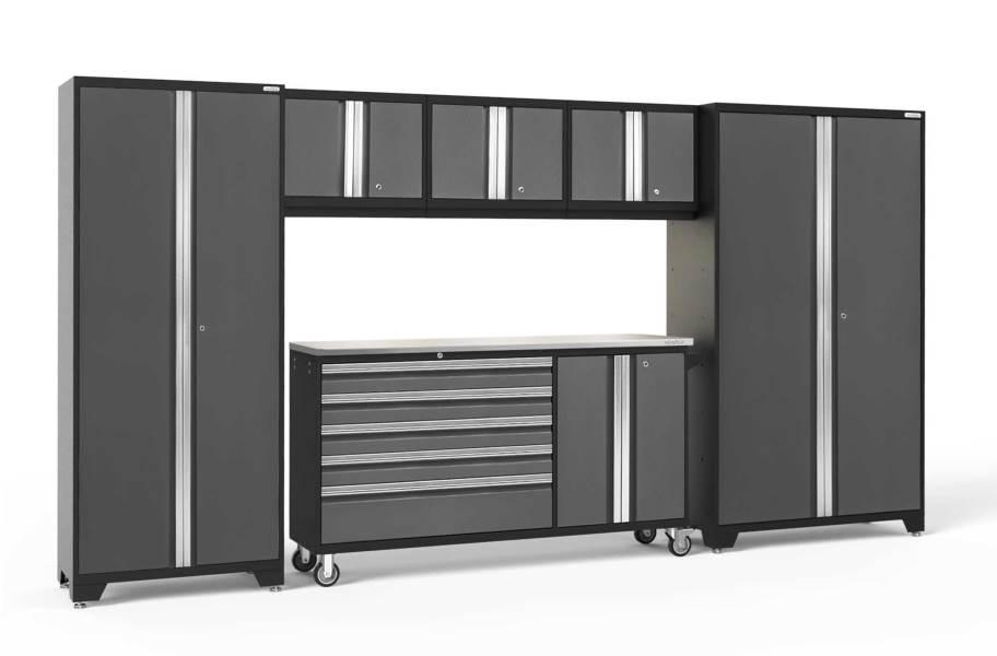 NewAge Bold Series 6-PC Cabinet Set - Gray / Steel + LED Lights