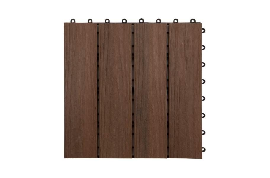 Helios Composite Deck Board Tiles (4 Slat) - Brazilian Brown