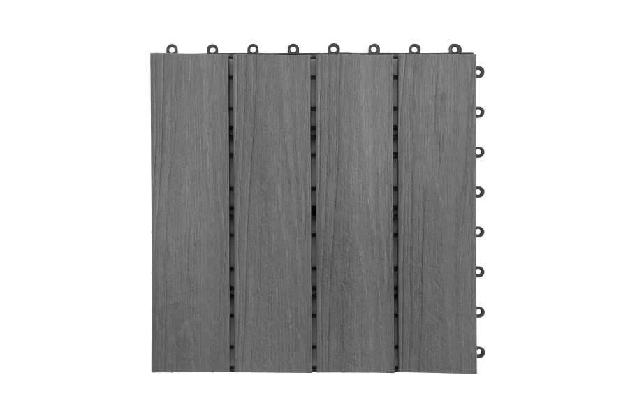 Helios Composite Deck Board Tiles (4 Slat) - Hawaiian Gray