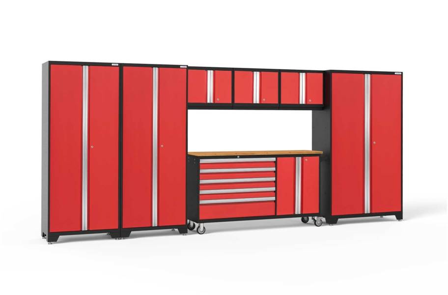 NewAge Bold Series 7-PC Cabinet Set - Red / Bamboo