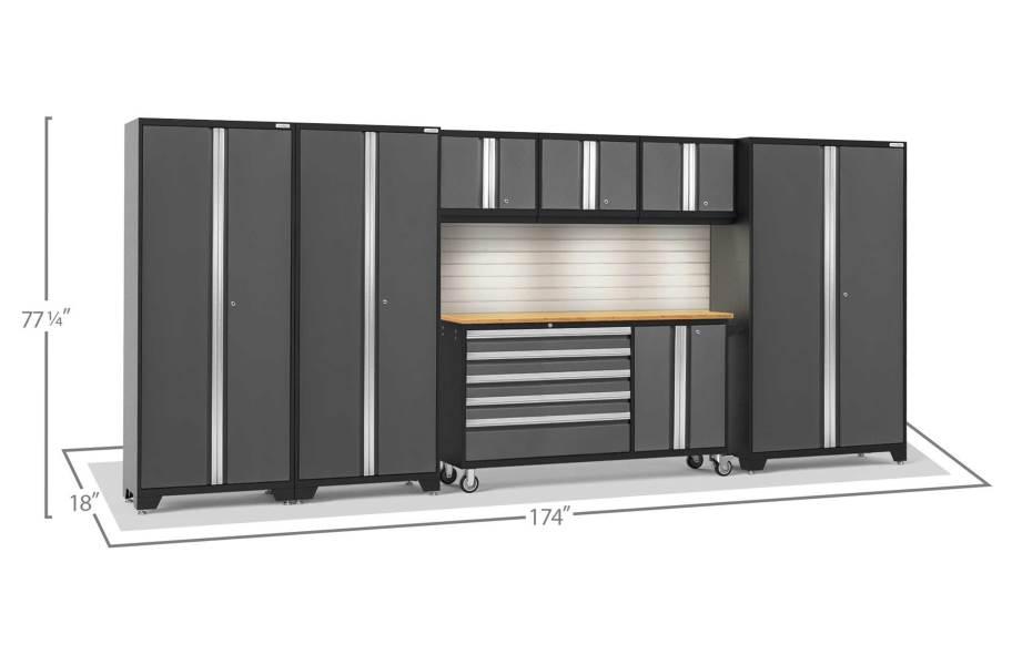 NewAge Bold Series 7-PC Cabinet Set - Gray / Bamboo