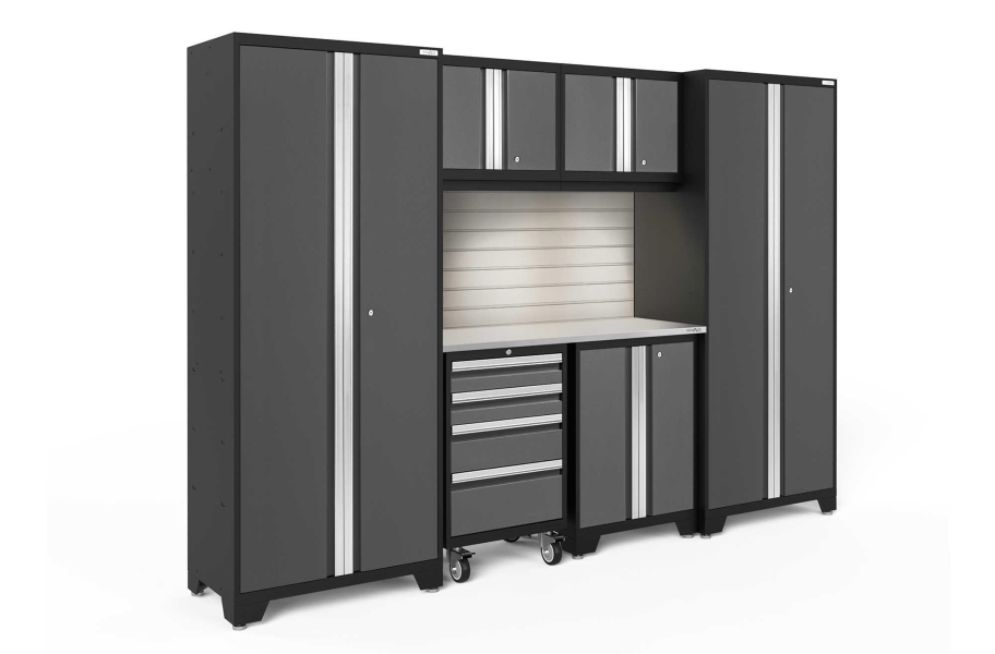 NewAge Bold Series 7-PC Cabinet Set - Gray / Steel + LED Lights
