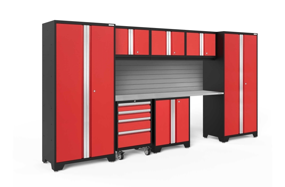NewAge Bold Series 8-PC Cabinet Set - Red / Steel
