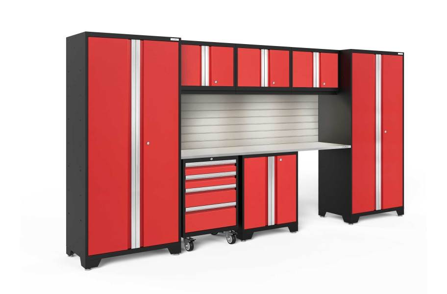NewAge Bold Series 8-PC Cabinet Set - Red / Steel + LED Lights