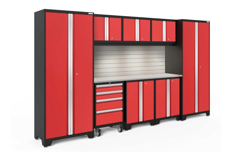 NewAge Bold Series 9-PC Cabinet Set - Red / Steel + LED Lights
