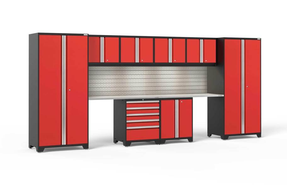 NewAge Pro Series 10-PC Cabinet Set - Red / Steel + LED Lights