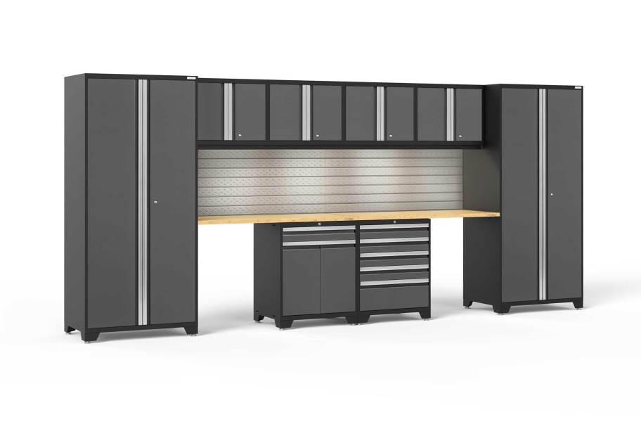NewAge Pro Series 10-PC Cabinet Set - Gray / Bamboo + LED Lights