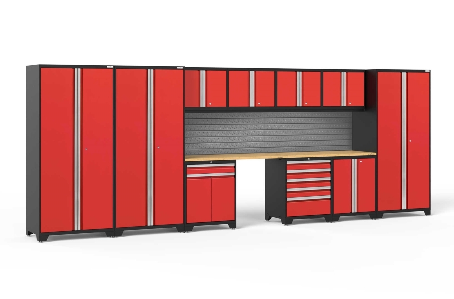 NewAge Pro Series 12-PC Cabinet Set - Red / Bamboo