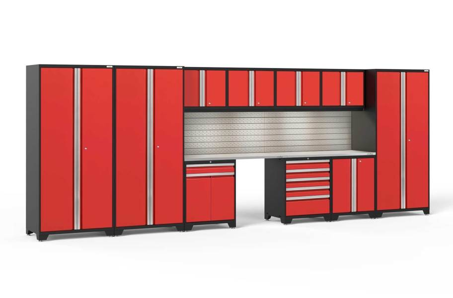 NewAge Pro Series 12-PC Cabinet Set - Red / Steel + LED Lights