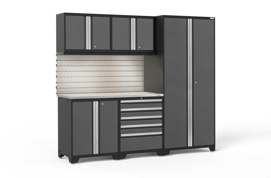 NewAge Pro Series 6-PC Cabinet Set - Gray / Steel + LED Lights