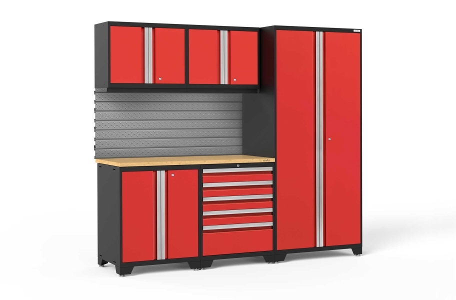 NewAge Pro Series 6-PC Cabinet Set - Red / Bamboo