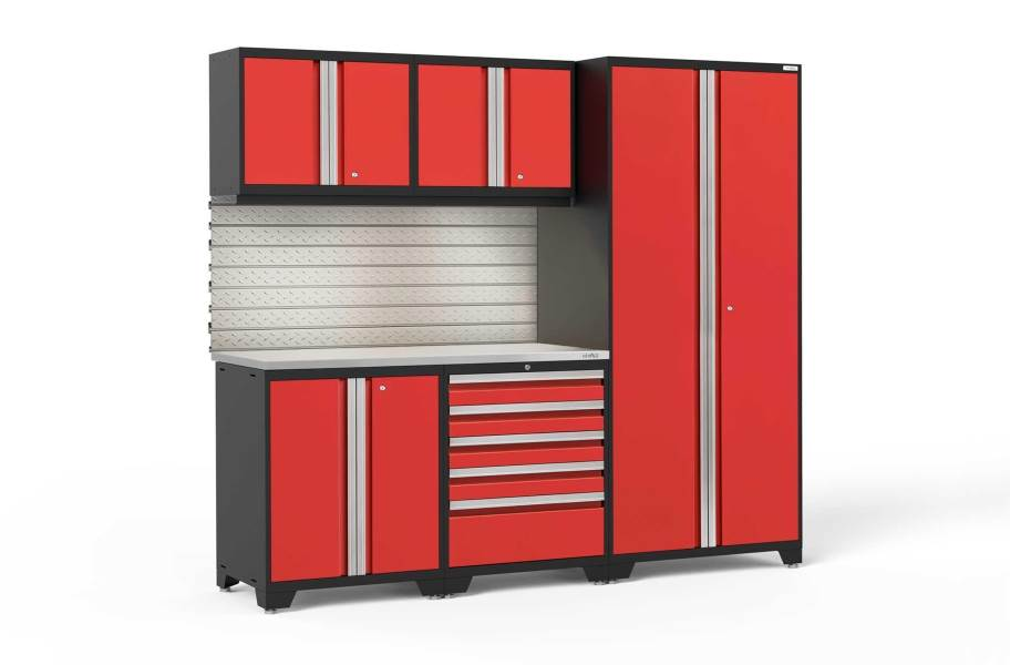 NewAge Pro Series 6-PC Cabinet Set - Red / Steel + LED Lights