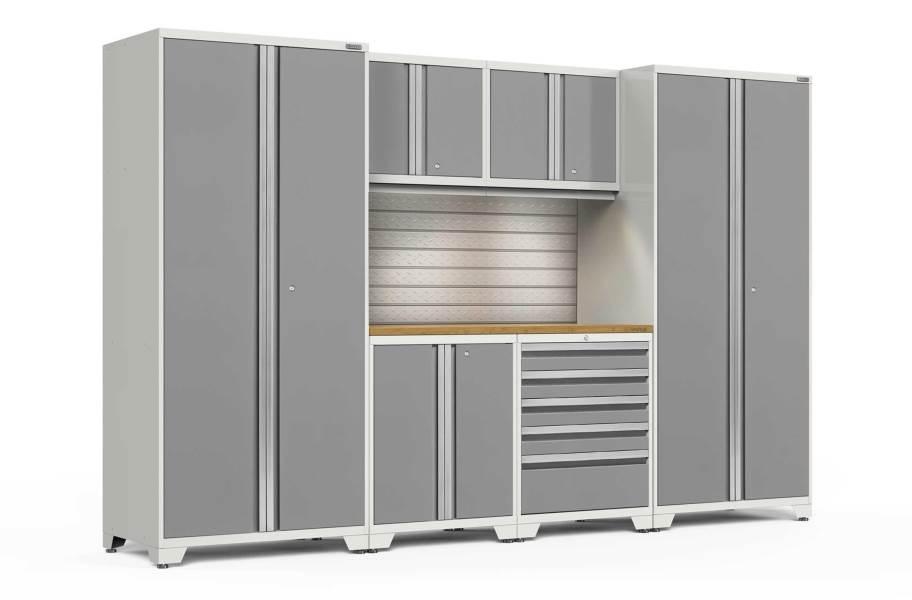 NewAge Pro Series 7-PC Cabinet Set - White / Bamboo + LED Lights