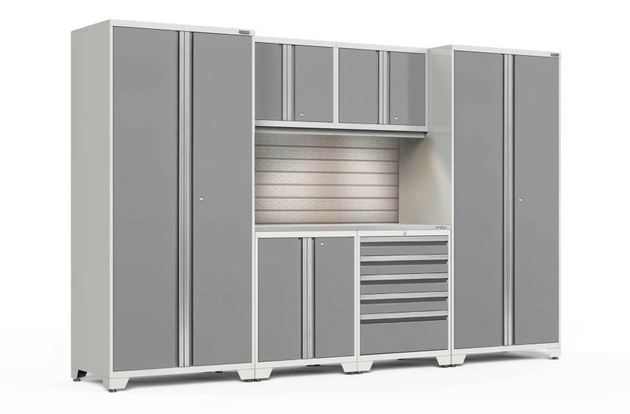 NewAge Pro Series 7-PC Cabinet Set - White / Steel + LED Lights