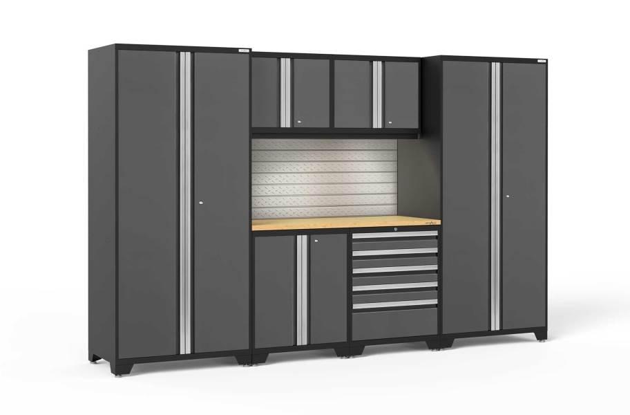 NewAge Pro Series 7-PC Cabinet Set - Gray / Bamboo + LED Lights