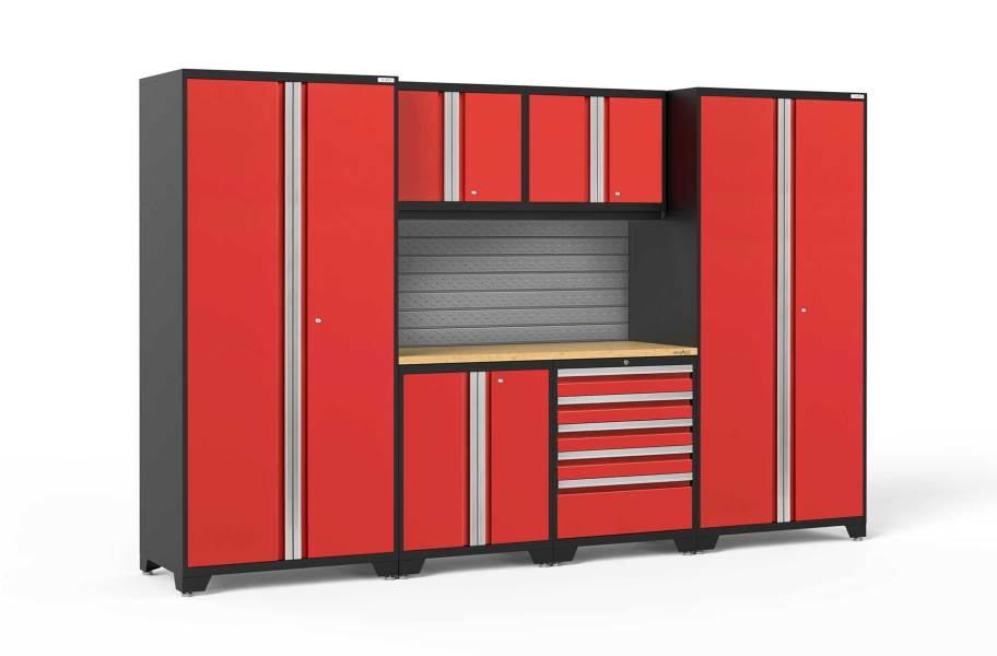 NewAge Pro Series 7-PC Cabinet Set - Red / Bamboo