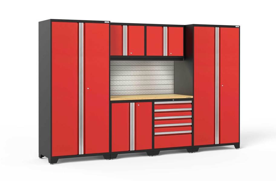 NewAge Pro Series 7-PC Cabinet Set - Red / Bamboo + LED Lights
