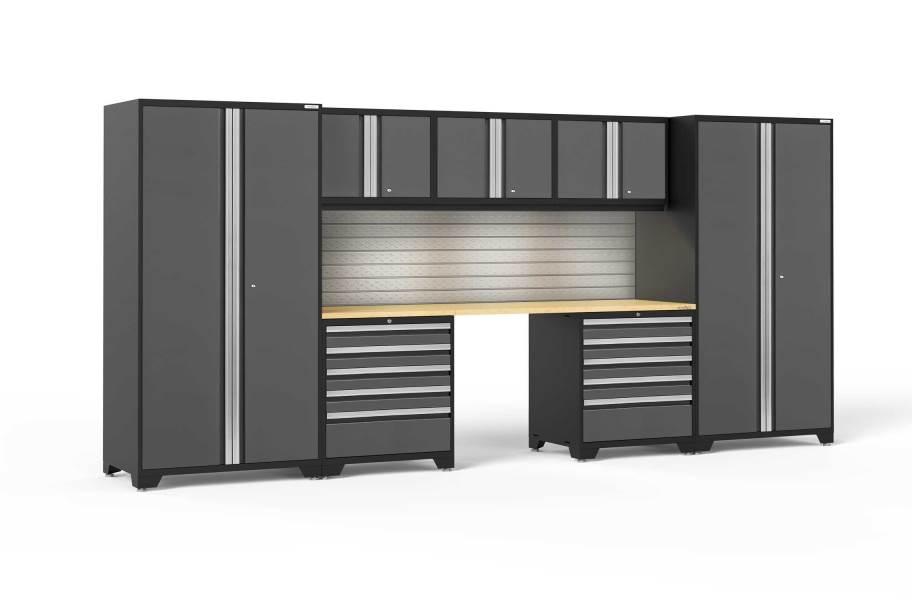 NewAge Pro Series 8-PC Cabinet Set - Gray / Bamboo + LED Lights