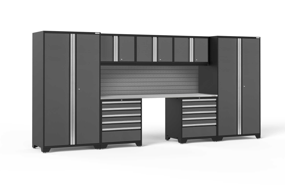 NewAge Pro Series 8-PC Cabinet Set - Gray / Steel