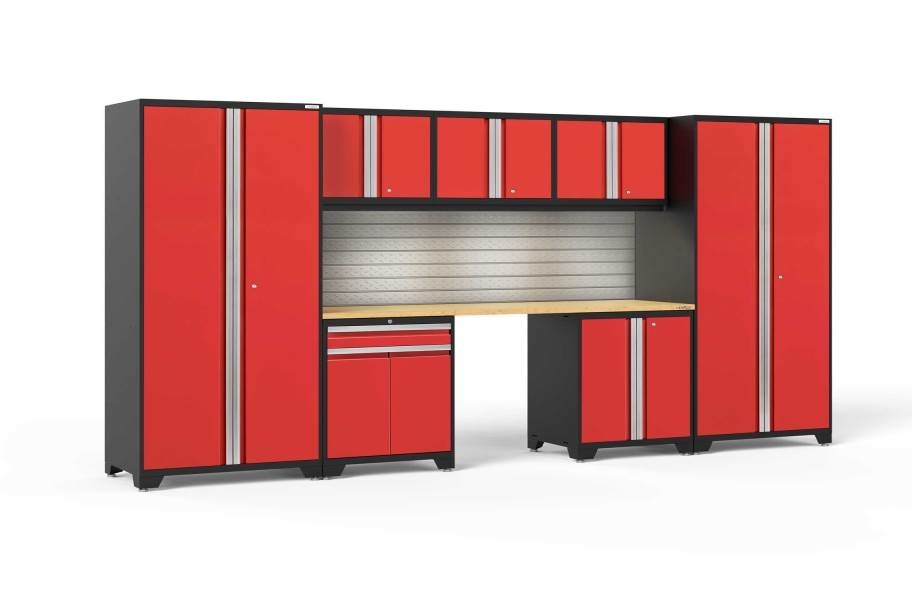NewAge Pro Series 8-PC Cabinet Set - Red / Bamboo + LED Lights