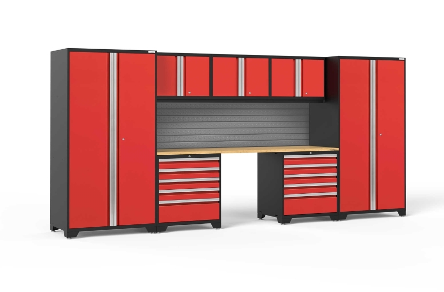 NewAge Pro Series 8-PC Cabinet Set - Red / Bamboo