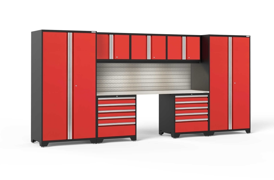 NewAge Pro Series 8-PC Cabinet Set - Red / Steel + LED Lights