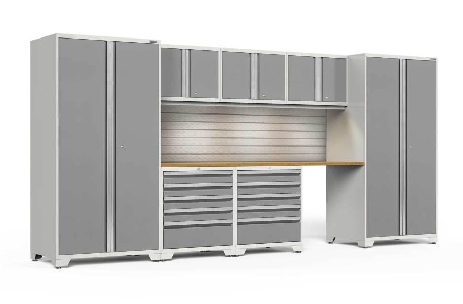 NewAge Pro Series 8-PC Cabinet Set - White / Bamboo + LED Lights