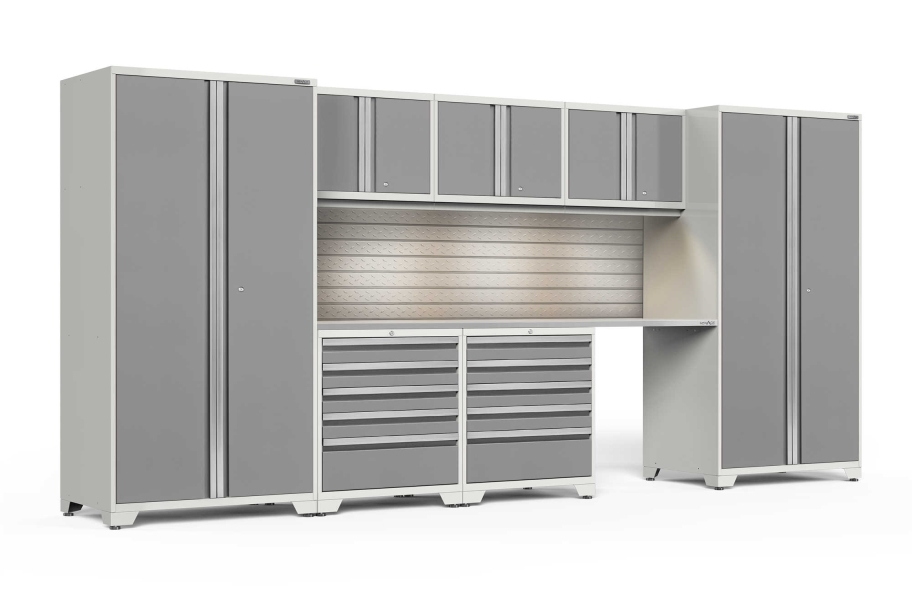 NewAge Pro Series 8-PC Cabinet Set - White / Steel + LED Lights