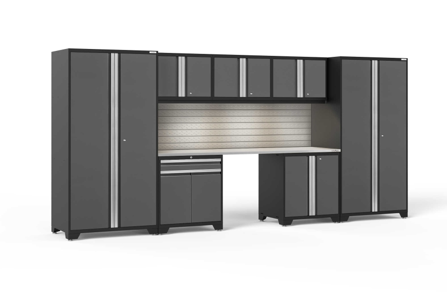 NewAge Pro Series 8-PC Cabinet Set - Gray / Steel + LED Lights