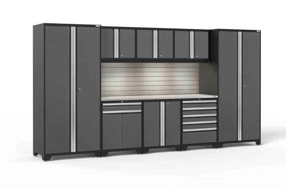 NewAge Pro Series 9-PC Cabinet Set - Gray / Steel + LED Lights