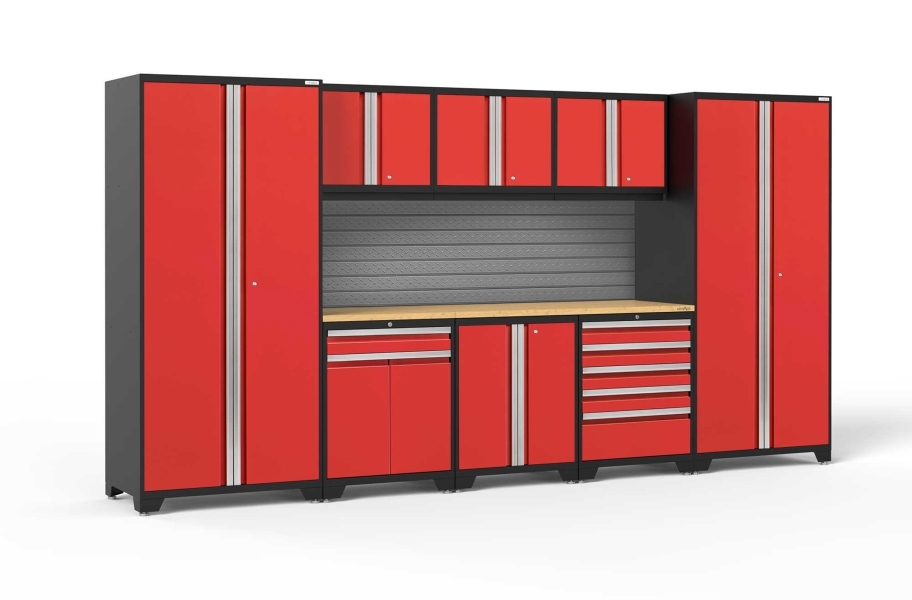 NewAge Pro Series 9-PC Cabinet Set - Red / Bamboo