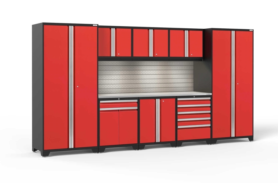 NewAge Pro Series 9-PC Cabinet Set - Red / Steel + LED Lights